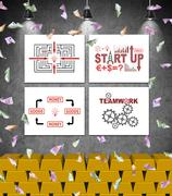 Four placard with start up concept on wall Stock Illustration