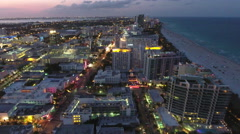 Miami Beach aeria ltour Ocean Drive and Collins Avenue Stock Footage
