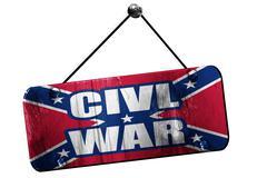 Rebel flag, 3D rendering, grunge hanging vintage sign - stock illustration