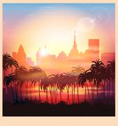 a city at sunrise - stock illustration