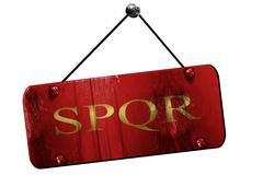 spqr, 3D rendering, grunge hanging vintage sign - stock illustration