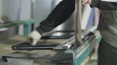 working metal bends on manual machine - stock footage