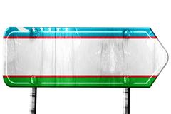Uzbekistan flag, 3D rendering, road sign on white background Stock Illustration