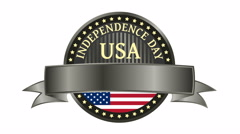 Happy Independence Day United States of America, 4th of July badge with ribbon. Stock Footage