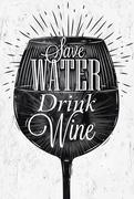 Poster vintage wine - stock illustration