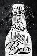 Poster vintage beer chalk Stock Illustration