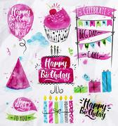 Birthday Set - stock illustration