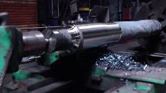 Huge Steel rode milling process Stock Footage