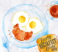 Breakfast smile eggs Stock Illustration