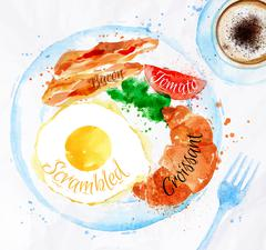 Breakfast watercolors bacon eggs Stock Illustration