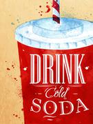 Poster Soda water - stock illustration
