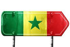 Senegal flag, 3D rendering, road sign on white background Stock Illustration