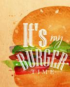 Poster burger - stock illustration