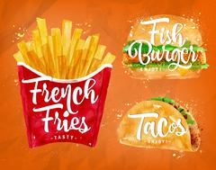 French fries orange - stock illustration