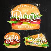 Burger chalk - stock illustration