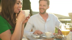 closeup young couple having breakfast - stock footage