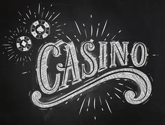 Casino sign chalk - stock illustration