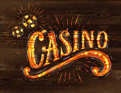 Casino sign wood Stock Illustration