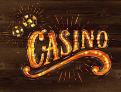 Casino sign wood - stock illustration