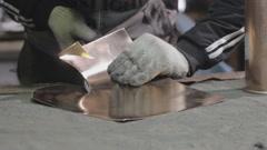 Tinsmith metal cutting shears Stock Footage