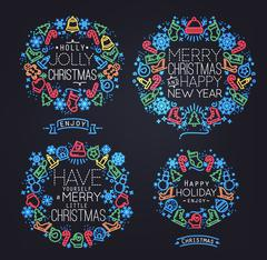 Christmas symbols neon - stock illustration