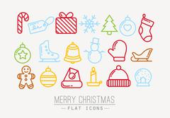 Christmas flat icons color - stock illustration