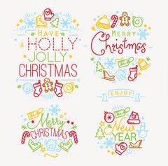 Christmas elements color - stock illustration
