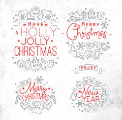 Christmas decorative elements - stock illustration