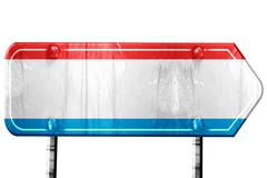 Luxembourg flag, 3D rendering, road sign on white background - stock illustration