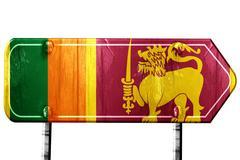 Sri lanka flag, 3D rendering, road sign on white background - stock illustration