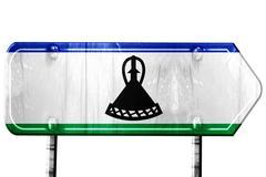 Lesotho flag, 3D rendering, road sign on white background - stock illustration