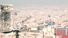 City center view from acropolis citadel focus movement Stock Footage