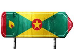 Grenada flag, 3D rendering, road sign on white background - stock illustration