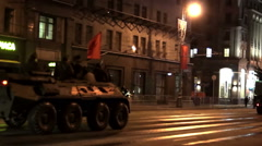 Night rehearsal of parade with the passing of military equipment on city streets Stock Footage