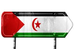 Western sahara flag, 3D rendering, road sign on white background Stock Illustration