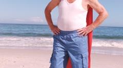 Fancy-dress mature man folding arms Stock Footage