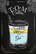 Tom Collins cocktail chalk - stock illustration