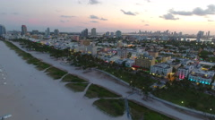 Aerial dusk twilight tour Miami Beach - stock footage