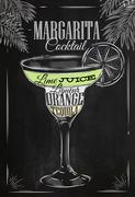 Margarita cocktail chalk - stock illustration