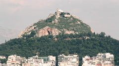 Lycabettus hill in Athens panoramic Stock Footage