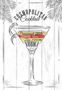 Cosmopolitan cocktail - stock illustration
