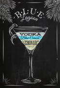 Blue lagoon cocktail chalk Stock Illustration