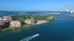 Boating by Fisher Island 4k prores - stock footage
