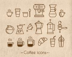 Coffee icons with craft - stock illustration