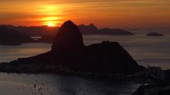 Pao Acucar (Sugar loaf) mountain and bay of Botafogo, Rio de Janeiro, Brazil Stock Footage