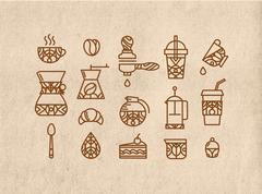 Set coffee icons brown - stock illustration