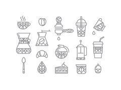Set coffee icons Stock Illustration