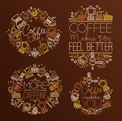 Coffee monograms - stock illustration