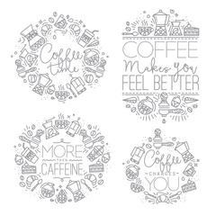 Coffee monograms grey - stock illustration