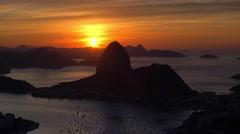 Pao Acucar (Sugar loaf) mountain and bay of Botafogo, Rio de Janeiro, Brazil - stock footage